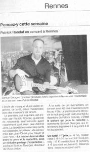 Music Axion organise un masterclass/concert unique à Rennes avec Patrick Rondat, Gael Feret et JC Bauer